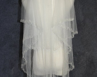 Wedding bridal veil, white ivory veil, crystal veil, comb veil, fingertip veil, wedding accessories, Two Layer Veil Hand-beaded veil