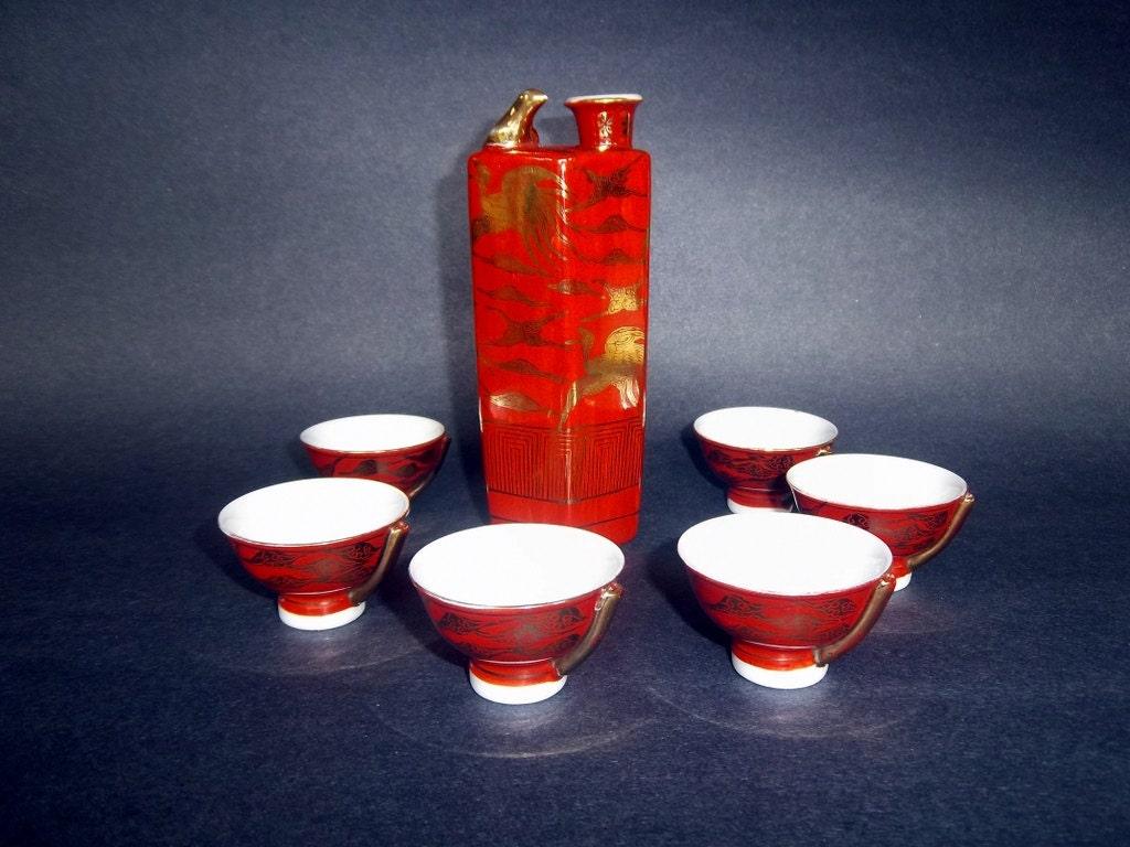 Whistling Bird Sake Set Japanese Cups 6 Vintage Antique