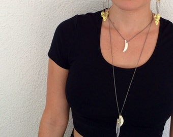 HOWL // Real Coyote Tooth on a Gunmetal Chain // Hippie Hipster Boho Goth Bone Necklace