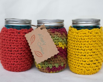 Mason Jar Cozies, Crocheted Cozy, Coffee Cozy, Gifts Under 30.00, Gift ideas for mom,