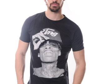 Wiz Khalifa With Pittsburgh King Cap Print Men's Cotton Black T-Shirt Tee S M L XL