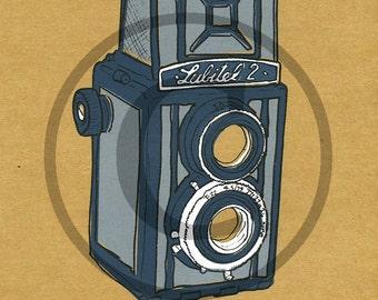 Screenprint of Lubitel 2 TLR Camera - Four Layer Screenprint, Dark Blue/Light Grey on Brown Heavyweight Art Paper