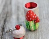 Stash Charm - Red and White Amanita style- Handmade pendant. Stash jar charm. Nug jug, pill bottle. Polymer clay charm. Hidden stash charm