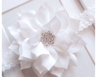 White headband,baptism,christening,flower girl headband,baby child girls headband, lace headband