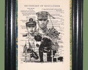 Armed Forces - Vintage Dictionary Book Page Art, Upcycled Book Art, Print on Vintage Dictionary Book Page, Military Print