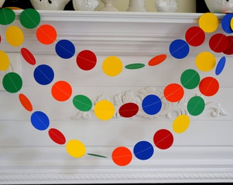 Rainbow Garland Paper Garland 10 ft, Primary Colors Garland/Blue, Red, Green, Yellow and Orange, Party Decorations-Any occasion garlands