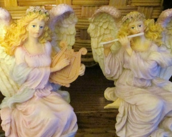 Pair angels shelf sitters playing harp and flute made of polyresin