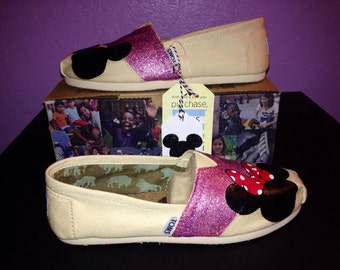 Custom Disney Toms - Purple/Silver Glitter