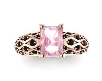 Rose Gold Engagement Ring Black Diamond Morganite Engagement Ring Wedding Emerald Cut 14K Rose Gold Ring Emerald Cut Morganite Ring - V1040