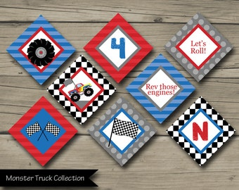 Monster Truck Party Circles, Truck Birthday Party Circles, Monster Truck Cupcake Toppers, Monster Jam, Party Decoration, Red Blue, Checkered