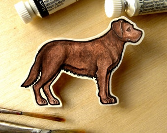 Chocolate Labrador - Handmade Wooden Dog Brooch with Print of Original Watercolour, Dog Jewellery, Dog Jewelry, Dog Pin pet portrait