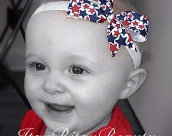 Red white and blue fourth 4th of July baby girls headband stars