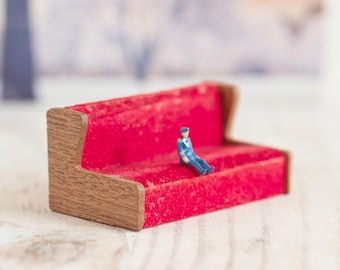 Teeny Weeny Vintage Red Sofa - Doll's House Miniature Living Room