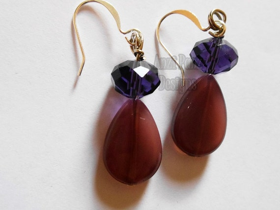 Faceted Purple Tear Drop Dangle Earrings// Handmade//    Glass Beaded Earrings//Pierced Earrings//Jewellery/Women/Fashion//EJL