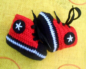 baby booties - converse style black sole