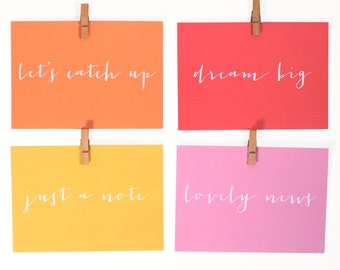 Set of Eight 'Everyday' Notecards, Postcards, Writing Set, Just A Note, Notecard Set