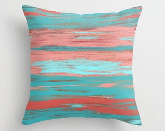 Coral Teal Throw Pillow Cover Aqua Light Coral Abstract Ombre Modern Home Decor Living room bedroom accessories Cushion Euro Sham Cover