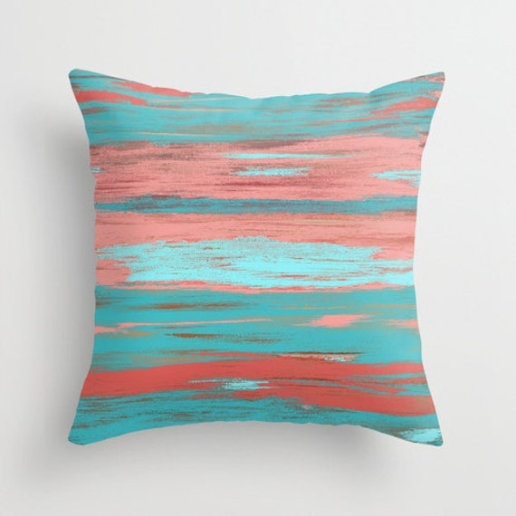 Light Aqua Throw Pillow : Coral Teal Throw Pillow Cover Aqua Light Coral Abstract Ombre