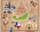 "Texas Our Texas Brown cotton panel -- approximately 23"" x 44"""