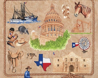 """Texas Our Texas Brown cotton panel -- approximately 23"""" x 44"""""""
