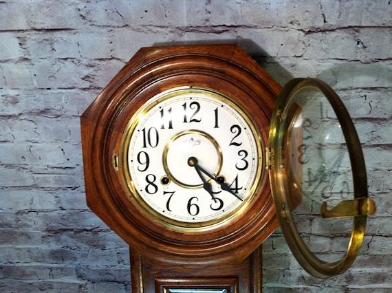 Vintage Wind Up Regulator Wall Clock Pendulum Decorative Home