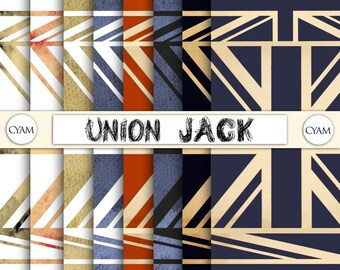 UNION JACK Digital Papers: Instant Download. British Flag patterns
