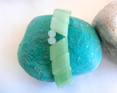 Pastel Green Bracelet - Repurposed Vintage Glass Beads - ReTainReUse