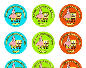 Spongebob & Patrick Favor Tags / Cupcake Toppers 2 Inch - Personalized with your Info - You Print