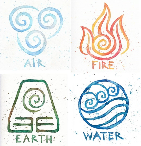 water earth air fire avatar symbols 10x10 prints four. Black Bedroom Furniture Sets. Home Design Ideas