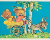 Vintage Russian postcard - Cute bears with donkey - Congratulations - birthday card congratulations card