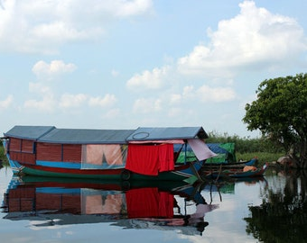 Digital photography download. Boat on Tonly Lake in Cambodia.