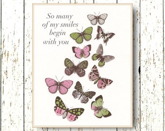 So many of my Smiles Begin with you nursery baby art - Butterfly Kids art - Girls room decor Pink and green children's art 8x10 or 11x14