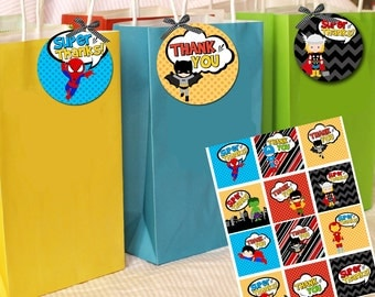 superhero favor tags, INSTANT DOWNLOAD,  super hero thank you tags  digital two inch circles or squares, superhero party favor tags