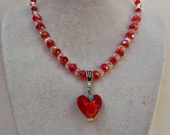 Valentines Day  Red heart and Swarovski crystal necklace with birthstone !