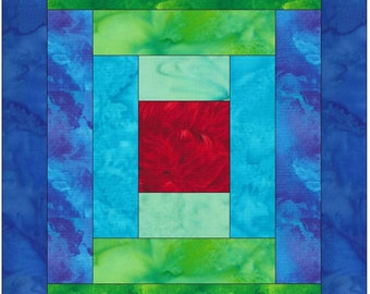Log Cabin 2 Paper Piece Foundation Quilting Block Pattern