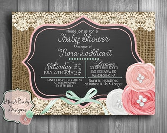 Chalkboard Shabby Chic Rustic Burlap Lace Baby Shower Invitation PRINTABLE!  Roses Birthday Pink Girl Vintage