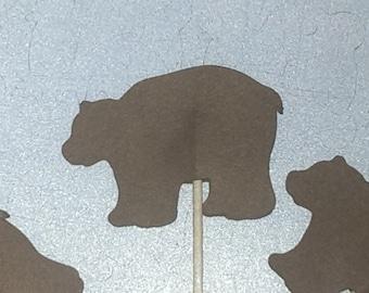 12 Bear Party Picks - Cupcake Topper - Toothpicks - Food Picks Die Cut Punch Cardstock