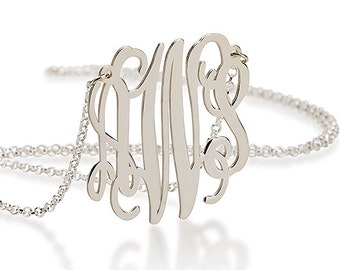 Monogram Necklace 1.2 Inch - Sterling Silver  - Christmas Gift Silver Monogram Necklace