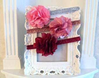Flower Headband, Pink, Mauve or Burgandy Satin Flower Clip-Pin, Detachable Flower, headbands, Girls Headband, flower hair clip, Easter