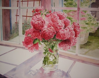 Watercolor painting of Pink Roses in a Vase Basking in the Sunlight