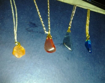 red & blue stone glass necklaces