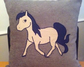 Appliqued Pony Cushion