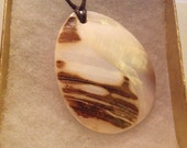 Coated Leather Strand and Shell Pendant Necklace