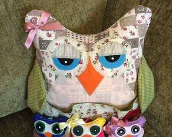 hand made owl cushion