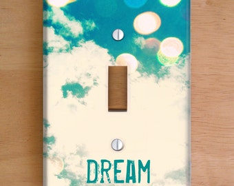 Dream Vinyl Light Switch Cover, Outlet Cover, Wallplate, Home Decor, Bokeh, Clouds, Blue, Sky, Whimsical, Dreamy, Nursery, Bedroom