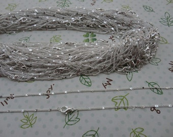 20pcs 1.2mm 16 inch silver necklace chain with lobster clasp