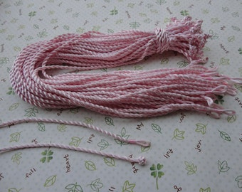 20pcs 3mm 17-19 inch light pink satin/silk twist necklace cord with connectors