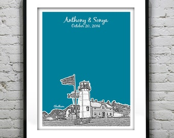 Chatham Cape Cod Wedding Gift Guest Book Guestbook Poster - Massachusetts Skyline MA Engagement Gift