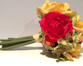 Rose Bouquet - Summer Mixed Floral Bouquet - Wedding Centerpiece- Green/Orange/Red/Yellow Flowers - Wedding Bouquet - Rose Bouquet