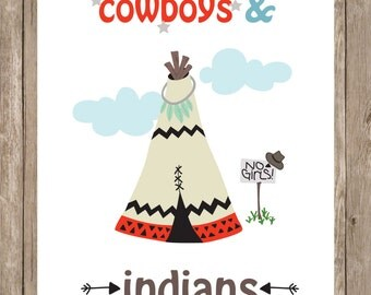 Cowboys and Indians. Teepee nursery print.  Boy room art.  8x10 digital printable.